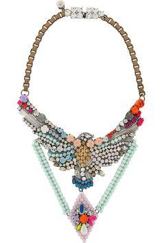 necklace looks like Erickson Beamon, but it's French-Tunisian designer Shourouk! very interesting...