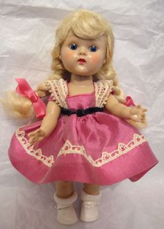 Vintage 1954 Vogue GINNY Painted Lash Walker SUPER PRETTY FACE PLW Doll VGC  #DollswithClothingAccessories