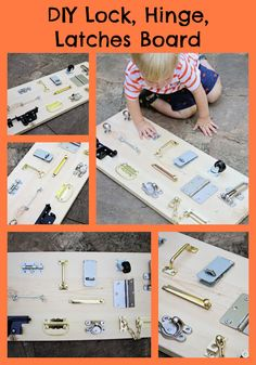 DIY Lock, Hinge, Latch board for toddlers - So easy!  Running from the Law blog