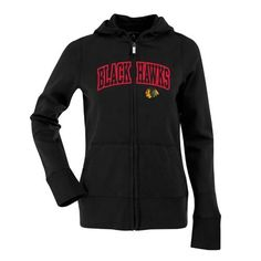 Antigua Women's Chicago Blackhawks Signature Hood Applique Full-Zip Sweatshirt L