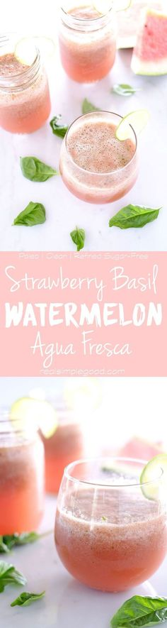 , clean and refreshing. This strawberry basil watermelon aqua fresca ...