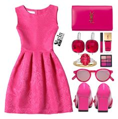 """Pinklicious......."" by simona-altobelli ❤ liked on Polyvore featuring Yves Saint Laurent, Swarovski, NARS Cosmetics and Philippe Rouge"
