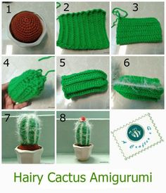 """crochet cactus tutorial. Good """"dirt"""" tutorial, adjust to fit any size pot."""
