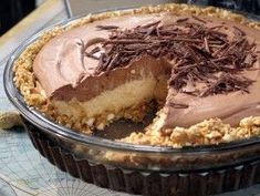 No-Bake Cream Cheese Peanut Butter Pie with Chocolate Whipped Cream : Recipes : Cooking Channel