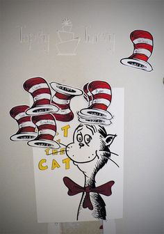 Seuss activities: Seuss game: Pin the hat on the cat game. This would be easy enough to make for our Celebration of Seuss week. Dr Seuss Activities, Party Activities, Toddler Activities, Toddler Fun, Preschool Ideas, Dr Seuss Birthday Party, 3rd Birthday Parties, Birthday Ideas, Cat Birthday