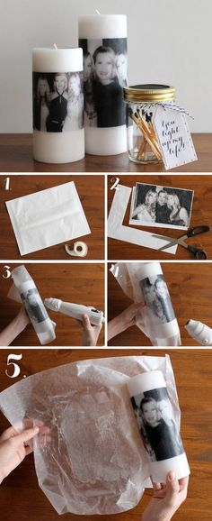 "DIY Photo Candles For Mom. Make a memorable and special personalized gift for Mom this Mother's Day by making this easy DIY photo candle. Please visit our store, Family Lagniappe, for a wide selection of personalized ""mom & grandma"" t shirts & hoodies! Diy Gifts For Mom, Easy Diy Gifts, Christmas Gifts For Mom, Diy Gifts For Girlfriend, Diy Gifts For Friends, Boyfriend Gifts, Creative Gifts, Diy Gifts With Photos, Christmas Christmas"