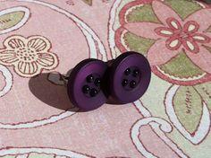 Antique - Tiny purple button earrings