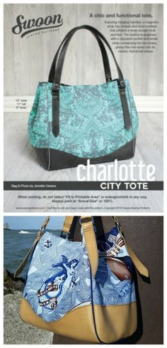 Swoon's Charlotte City Tote bag is a chic tote bag featuring hanging handles, a magnetic snap top closure and vinyl overlays.