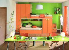 children Bedroom Orange - Green Paint Colors, Cheerful Ideas for Painting Kids Rooms Bedroom Orange, Living Room Orange, Living Room Colors, Living Rooms, Teen Room Furniture, Green Furniture, Furniture Decor, Orange Kids Rooms, Green Rooms