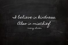 I believe in kindness. also in mischief | Mary Oliver
