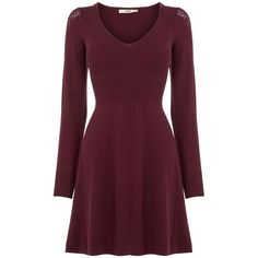 Oasis Pointelle Detail Babydoll Dress found on Polyvore featuring dresses, burgundy, women, baby doll dress, oasis dress, cotton a line dress, a line dress and burgundy dress