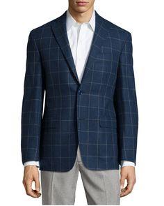 Plaid Sport Coat, Blue, Long