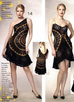 "Black-n-gold elegant dress designed on the basis of easy round pattern.   Crocheters call this ""doily-dress""        Besides, the dress i..."
