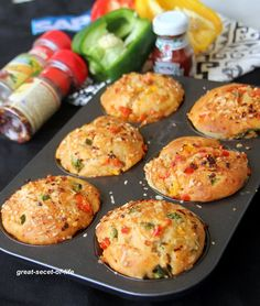 Vegetarian Pizza Muffins Recipe by Veena Theagarajan, Healthy Kids Friendly Pizza Muffins Recipes - Great Secret Of Life, Biryani Recipe, One Pot Meal Cake Recipes For Kids, Kids Cooking Recipes, Cooking Games, Cooking Classes, Brunch Appetizers, Brunch Menu, Cheese Appetizers, Healthy Breakfast Recipes, Brunch Recipes