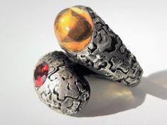 Resalio Gioielli contraire Rings Tormaline, Garnets, Citrine stones.. Hand Made 100% Italy