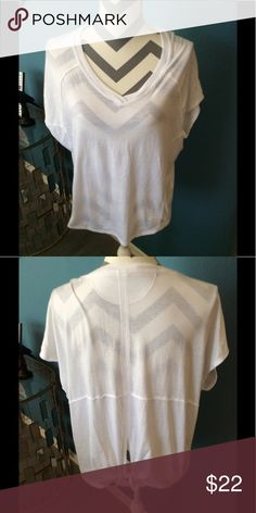 CK Performance Knit Top, SZ XL CK performance white knit top with a great tie back detail to make it fitted or loose in the waist,  deep V-neck and shorts leaves great for working out or is it casual top with jeans in excellent like new condition. CK Performance Tops Tees - Short Sleeve