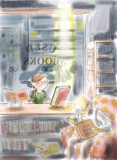 bibliolectors:  Bookshop: used books / Librería: libros de segunda mano (ilustración de Vincent Desjardins)