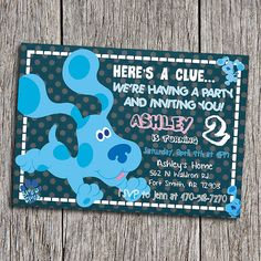 Hey, I found this really awesome Etsy listing at https://www.etsy.com/listing/270378820/blues-clues-birthday-party-invitation