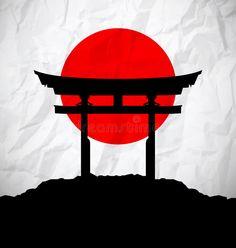 Japan flag as sunrise with Japan gate - landses Japanese Drawings, Japanese Artwork, Samurai Artwork, Japan Tattoo, Deco Originale, Samurai Tattoo, Japanese Calligraphy, Japanese Aesthetic, Japan Art