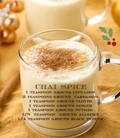 "Chai Spice Blend / use in Eggnog Smoothie. ""I tried something else for easy way to make Chai tea. I make chia pudding often. I just put 2 tsp of vanilla coconut milk chia pudding in a cup, then about tsp of chai spice, then hot water, tinch of cream i Smoothie Drinks, Smoothie Recipes, Smoothies, Chai Tea Smoothie, Homemade Spices, Homemade Seasonings, Homemade Chai Tea, Yummy Drinks, Healthy Drinks"