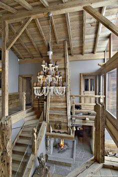A Maryland chandelier by Barovier&Toso in a luxury chalet at Cras-Montana, Switzerland - Interior by