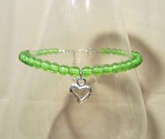 PLUS SIZE  Lime Green Anklet w/ Open Silver Heart by Pizzelwaddels, $14.97