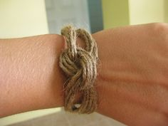 knotted jute bracelet.  I saw something similar with yarn.... Need to play around with that idea sometime.
