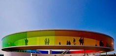 """red-lipstick: """" Olafur Eliasson (Danish-Icelandic) - Your Rainbow Panorama is a permanent installation on the rooftop of the ARoS Museum in Aarhus, Denmark completed in """" Aarhus, Icelandic Artists, Colour Architecture, Amazing Architecture, Olafur Eliasson, Colourful Buildings, Unusual Buildings, Beautiful Buildings, Land Art"""