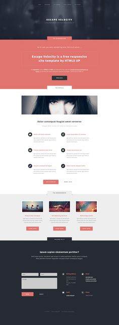 Escape Velocity is a free responsive HTML5 website template built on the latest HTML5 and CSS3. This template featuring a flat (but not too flat) minimalistic design, spacious layout, and styling for all basic page elements.