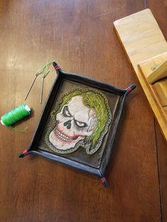 Heath Ledger Joker Skull Custom Leather Valet Tray By - BK Custom Works On Etsy, Instagram & Facebook