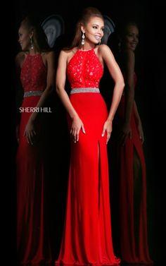 Sherri Hill 21210 Lace Red Top Prom Dress