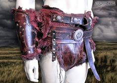 Detail view of the Crixus gladiator costume - consisting of 2 belts, subligaria (undergarment), and codpiece!