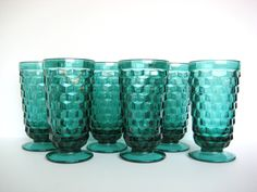 Vintage teal tumblers, American Whitehall Indiana Glass