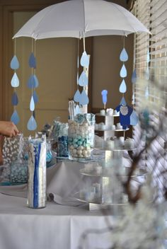Superior Baby Shower Umbrella: Blue Candy Bar