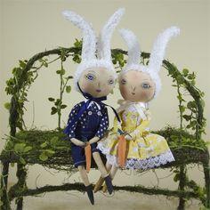 Rosalie Rabbit & Raymond Rabbit Easter Dolls on Moss Bench @ TheHolidayBarn.com