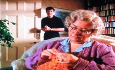 Murder Most Horrid - Season Two - 'We All Hate Granny' - an unrecognisable Dawn French as Granny sits crocheting as her 'son-in-law' Tom played by James Fleet enters ...