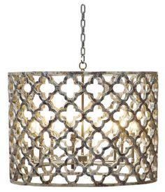 [quatrefoil ironies chandelier design trade i need this Drum Chandelier, Chandeliers, Bathroom Chandelier, Pendant Lamp, Pendant Lighting, Quatrefoil Pattern, Dining Room Lighting, Foyer Lighting, Unique Lighting