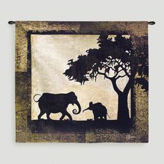 The unmistakable silhouettes of the Fine Art Tapestries Serengeti Elephants Wall Tapestry create a strong image inside a simple, contemporary border. Elephant Quilt, Elephant Tapestry, Mother And Baby Elephant, Elephant Silhouette, Framed Artwork, Wall Art, Safari Decorations, Cool Walls, Tapestry Wall Hanging