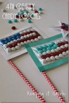 4th of July Treat Idea: Flag and Star Candy Pouch #4thofJuly #treats #keepingitsimplecrafts