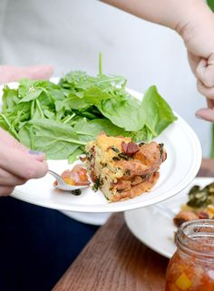 Bacon, Kale, and Gouda Strata brunch recipe