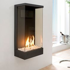Gas fireplace / wall-mounted / closed hearth / contemporary SIRIUS B. Fireplace Box, Wall Mounted Fireplace, Bioethanol Fireplace, Freestanding Fireplace, Bedroom Fireplace, Wall Fireplaces, Home Interior, Interior Decorating, Arquitetura