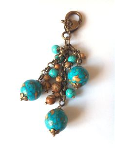 Purse bag charm mosaic beads and chain by BlueForestJewellery, $15.00