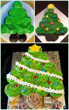 DIY Flat Christmas Tree Pull Apart Cupcake Cake Instruction Tutorial -DIY Pull Apart Christmas Cupcake Cake Design Ideas Decoration Craft Gallery Ideas] Related Beautiful Cake Designs that Are Out of This World Christmas Cupcake Cake, Holiday Cakes, Holiday Desserts, Holiday Treats, Christmas Cupcakes Decoration, Christmas Tree Cake, Holiday Recipes, Christmas Birthday Cake, Cupcake Wreath