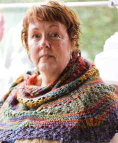 Why not drape yourself in colors knit with in this silk and lace design to harness your superpowers. Designed by Allison J. Janocha To purchase pattern: http://threeirishgirls.com/collections/patterns/products/super-heroes-don-t-need-pants-shawl