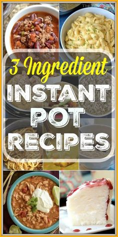 Here are a bunch of easy 3 ingredient Instant Pot recipes and even more with 5 ingredients or less. From dinner to dessert and side dishes in between, we are sharing the easiest meal ideas you can make in your pressure cooker today with you. Cooking Recipes For Dinner, Pressure Cooking Recipes, Instant Pot Dinner Recipes, Lunch Recipes, Cooking Time, 3 Ingredient Dinners, 3 Ingredient Recipes, Cheap Instant Pot, Quick Easy Dinner