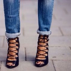 ISO black leather lace up heels! I need a 5 or 5.5. Please tag me!! Shoes Heels
