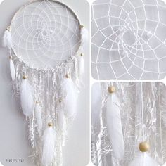 White Dreamcatcher    Making a dreamcatcher in white seems very calming. Try making it in single-color variations, like beige, yellow, brown and so on! Photo Credit: EENK