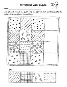 Faith Ringgold-Patterning With Quilts worksheet Quilt Square Patterns, Quilt Patterns Free, Square Quilt, Letter Q Crafts, K Crafts, Science Crafts, Preschool Worksheets, Preschool Letters, Preschool Themes