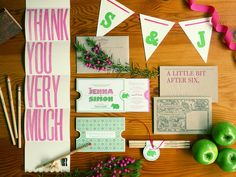pink and green letterpress wedding invitation
