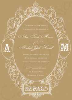 New colorway now available! : Antique Oval Frame, Printable 5x7 Wedding Invitation : ornate victorian elegant formal art nouveau : by CyanAndSepia, $18.00